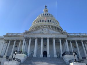An image of the U.S. Capitol Building from the bottom of its steps. The sky behind the building's dome is clear and blue.